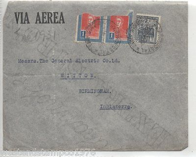 Argentina Postal History Cover To England. Cancelled 1931. Damaged Stamps.