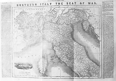 OLD ANTIQUE MAP NORTH ITALY TURIN VIEW c1859 CORSICA SEAT OF WAR