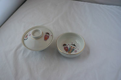 3 Piece Asian Covered Bowl and Companion Dish