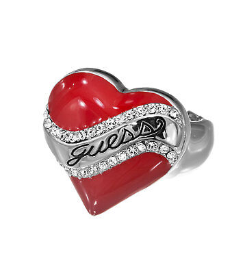 Womens Guess Red Crystal Heart Shaped Ladies Stretch Ring Ubr81105 S Fits Most