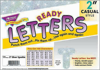 """140 Classroom display board ready letters Sparkle Silver 2"""""""