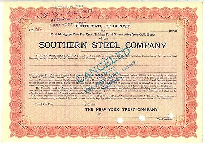 Southern Steel Company 2 Color Stock Certificate Set 1908