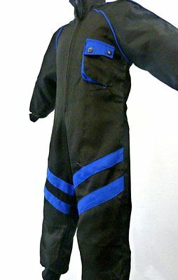 Kids Pit Crew Speed Demon Mechanic Style Childrens Cloth Overalls Black/Blue - T