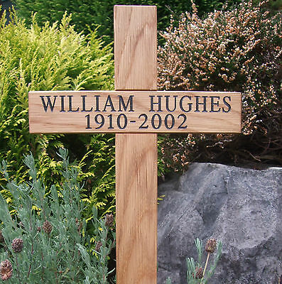 "24"" Oak Engraved Wooden Memorial Cross Personalised Wood Grave Ashes Marker  pet"