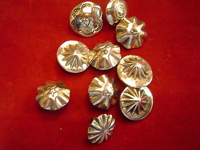 "Buttons: Set of 10 Sterling 5/8""  Assorted Design"