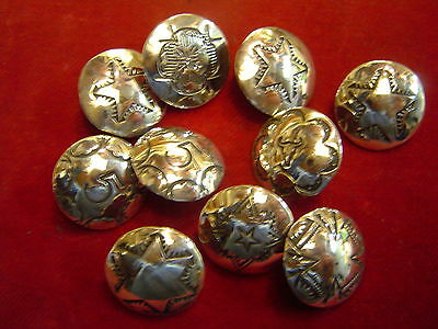 """Buttons: Set of 10 Sterling 3/4""""  Assorted Hand Stamped Designs"""
