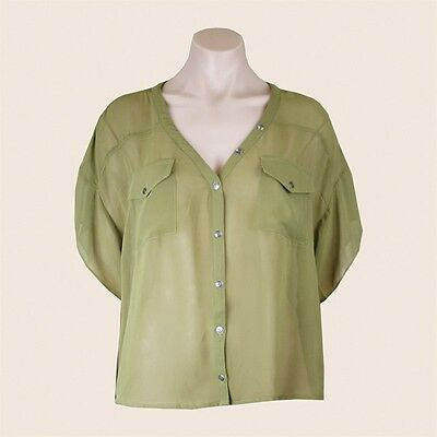 L@@K Summer Size S/M Olive Green Sheer Button Front Work Wear w Suit TOP JENDI