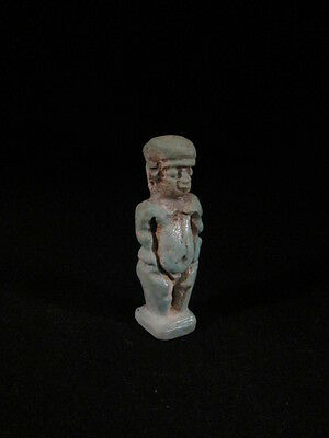 Ancient Egyptian faience Ptaikos amulet, fine detail- late period -