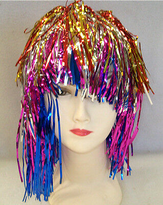 Multi- Colours Metallic Foil,  Party ,Tinsel Wig