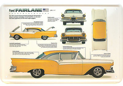 Ford Fairlane 1957 Typenblatt Blechschild Replik