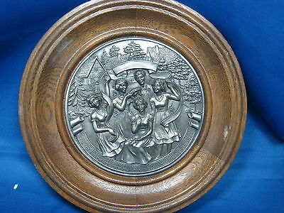 """9"""" Antique Made in Germany Embossed Solid Pewter Deco Plate w/Oak Frame Nice"""
