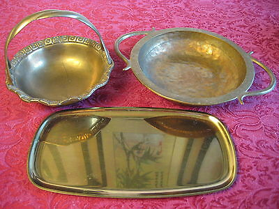 3 Antique West  German Heavy Solid Embossed  Brass Bowls &Plate  weigh 2.4 LBS