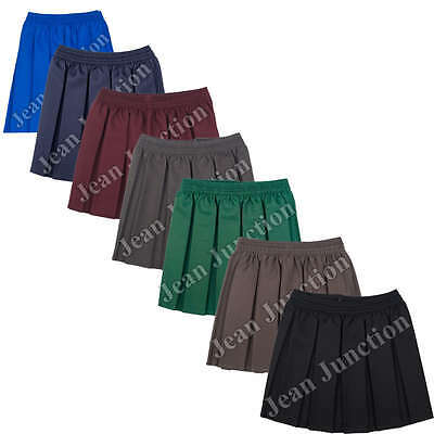 Box Pleated Fully Elasticated school Skirt 6 Colours Knee Length 2-3 to Ladies