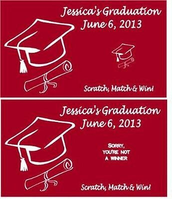 Graduation Graduate Scratch Off Game Tickets Cards Party Favors ANY COLOR Custom
