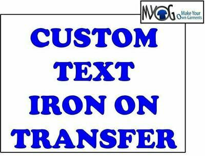 Custom Iron On T Shirt Transfer Personalised Any Name Text Blue Font Light