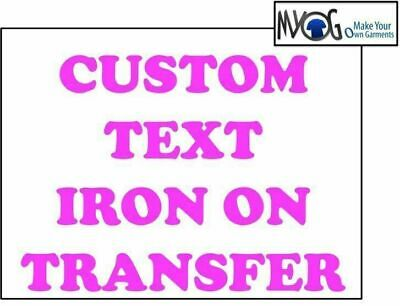 Custom Iron On T Shirt Transfer Personalised Any Name Text Baby Pink Font Light