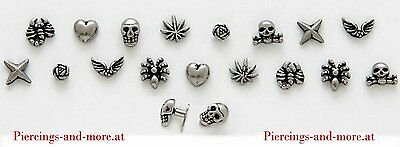 "20 STÜCK Dermal Anchor 3-D Trendy Design Heads ""Hot Sellers""  gemischt (A128)"