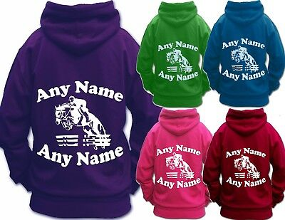 HORSE RIDING HOODIE PERSONALISED UNISEX HOODIE Children's & Adult's SHOW JUMPING