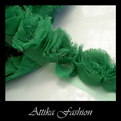 Green CHIFFON FLOWERS Frayed Mesh Fabric LACE TRIM 1y Sewing Edging DIY Crafts