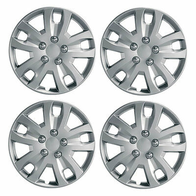 "Gyro 16"" Car Wheel Trims Hub Caps Plastic Covers Set of 4 Silver Universal"