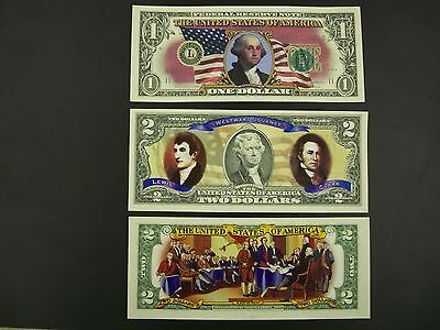 Colorized Uncirculated One Dollar and Two Dollar Bills