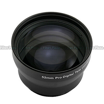 52mm 2.0X Magnification Telephoto Tele Converter Lens for Digital Camera 2X 52