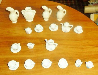 Pretty Port LTD Blue Pink White Child's 26 Pc. Tea Set + 4 White Pots Pitchers