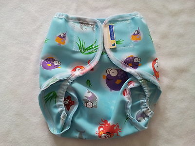 Motherease Rikki wrap aplix fastening small medium large Ocean! Nappy wrap