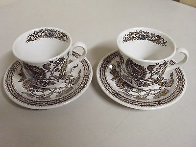 2 RIDGWAY STAFFORDSHIRE JACOBEAN TEA CUPS + SAUCERS