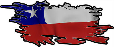 CHILE RIPPED FLAG Size apr. 300mm by 122mm GLOSS LAMINATED DOES NOT FADE
