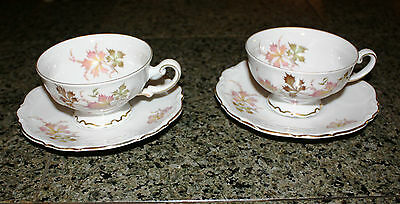 VINTAGE PAIR OF MITTERTEICH BAVARIA AUTUMN LEAVES FOOTED CUP AND SAUCER 4272
