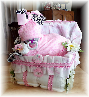 Baby Shower Girl Diaper Baby Cake & Stroller