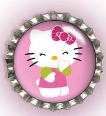 Laughing Kitty Bottle Cap Pet Cat Dog Collar ID Tag, Jewellery, Gift