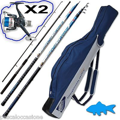 combo kit pesca trota lago fiume cava spinning bolognese due mulinelli fodero