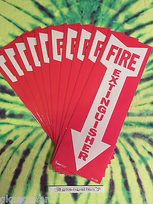 """(Lot Of 10) Self-Adhesive Vinyl """"Fire Extinguisher Arrow"""" Sign's...4"""" X 12"""" New"""