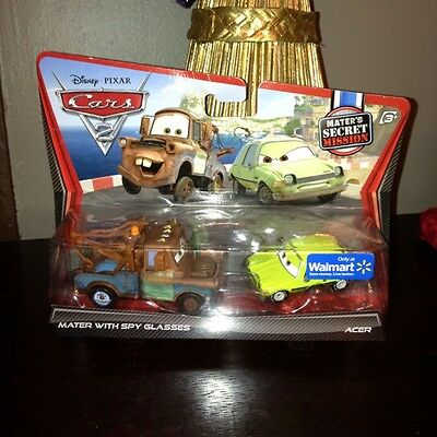 DISNEY PIXAR CARS 2 DIECAST Cars Mater with Spy Glasses & Acer Hard To Find