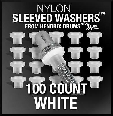 100 White SLEEVED WASHERS from Hendrix Drums nylon tension rod hoop rim set kit