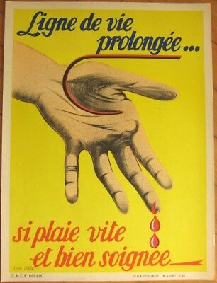 Early Litho SNCF French Railroad Train Safety Poster, Macabre