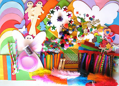 Bulk Kids Craft Kit Glitter Sticks Paper Circles Squares Feathers Pom Poms +More