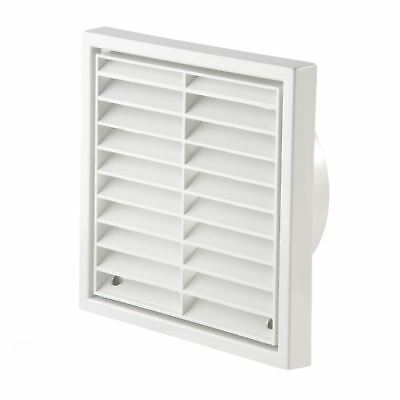 White Square Louvre Air Vent Duct Grille Extractor Fan Wall Outlet 4 Inch 100mm