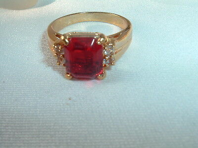 Vintage Art Deco Ruby Glass And Rhinestone Cocktail Ring, Sz 9.25 In Ring Box
