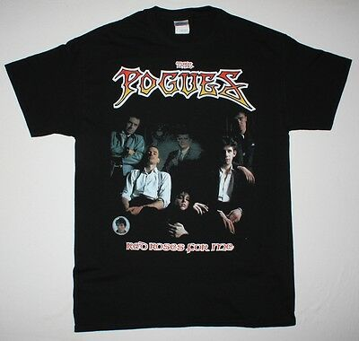 bf10ad8c THE POGUES RED ROSES FOR ME'84 IRISH PUNK FOLK ROCK MacGOVAN NEW BLACK T