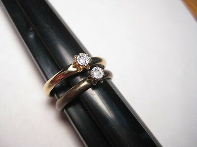 Vintage Pair of  Dainty Faux Diamond  Ring, one sz. 7 one adjustable