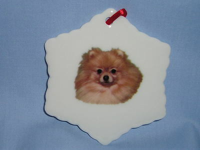 Pomeranian Dog Porcelain Snowflake  Christmas Tree Ornament Fired Decal-H