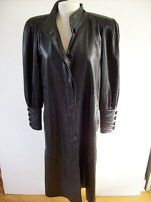 VINTAGE DERO BY ROCCO D' AMELIO ROME NEWYORK SIZE SMALL BLACK LEATHER COAT