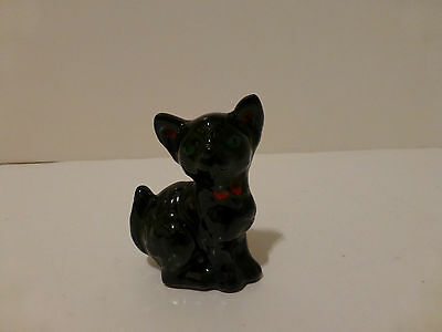 Vintage Shafford Japan Black Cat Hand Ptd Green Eyes Red Bow Red Clay   (S2