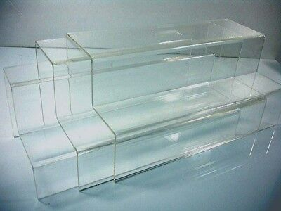 "Set of 3 Clear Acrylic 2-tier steps display Riser Stand 10"" X 4.75""  WHOLESALES"