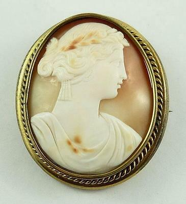 Vintage Large Natural Shell Cameo of a Lady in a Gilt Mount c. 1920-30's