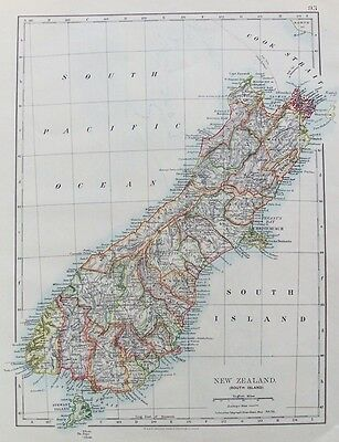 OLD ANTIQUE MAP NEW ZEALAND SOUTH ISLAND c1906 by JOHNSTON PRINTED COLOUR