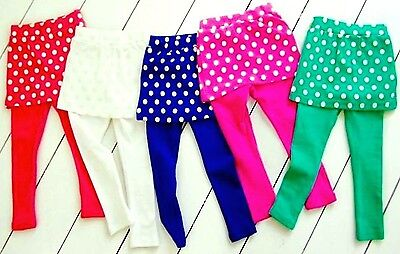 Girls SKIRT-LEGGINGS ATTACH SPOTTY Print Cotton Elasticated Waist 2,4,6yrs